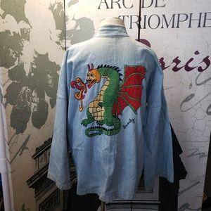Vintage Embroidered Denim Jacket Size L